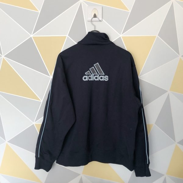 Vintage Grey x Navy Blue Adidas Embroidered Spell Out