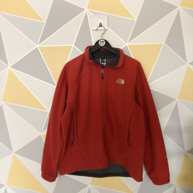 b8d72b8cd Orange North Face Embroidered Spell Out Fleece Jacket