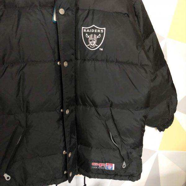 buy online cc847 78428 NFL Oakland Raiders Embroidered Chunky Down Puffa